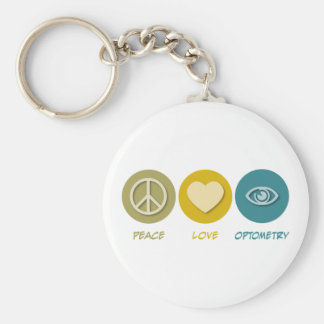 Optométrie d'amour de paix porte-clé rond