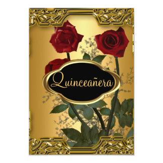 Or 3 de fête d'anniversaire de Quinceanera Carton D'invitation 12,7 Cm X 17,78 Cm