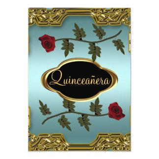 Or 4 de fête d'anniversaire de Quinceanera Carton D'invitation 12,7 Cm X 17,78 Cm