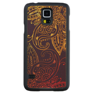 Or à Mehndi rouge sur le pourpre Coque Slim Galaxy S5 En Érable