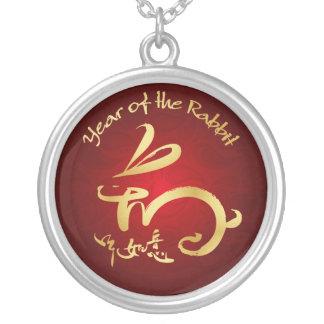 Or/année rouge du lapin - nouvelle année chinoise pendentif personnalisé