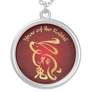 Or/année rouge du lapin - nouvelle année chinoise pendentif rond