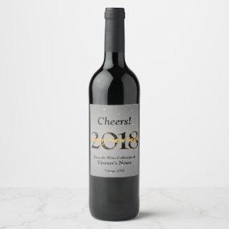 Or argenté de feux d'artifice d'étoiles de la étiquette pour bouteilles de vin