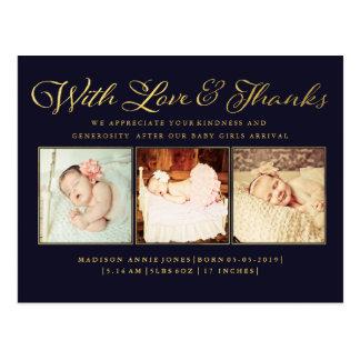 Or avec la carte postale de photo de bébé d'amour