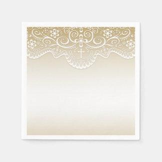 Or avec la dentelle, croix, religieuse serviettes en papier