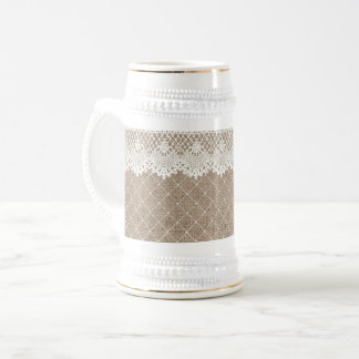 Or blanc de Stein de toile de jute de dentelle de Chope À Bière