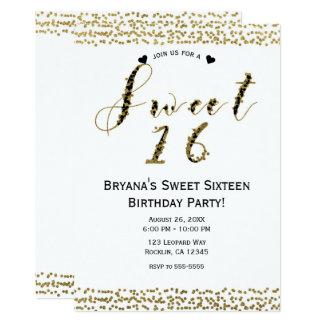 Or blanc et fête d'anniversaire chic noire du carton d'invitation  12,7 cm x 17,78 cm