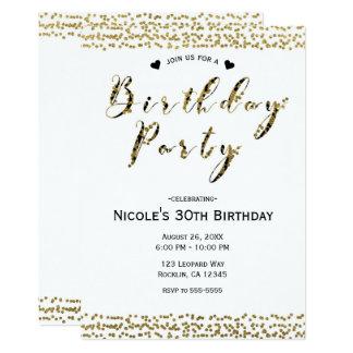 Or blanc et fête d'anniversaire fascinante moderne carton d'invitation  12,7 cm x 17,78 cm