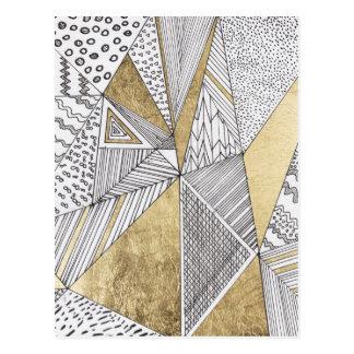 Or blanc noir chic moderne de faux géométrique carte postale
