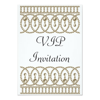 Or blanc VIP d'invitation de fête d'anniversaire Carton D'invitation 12,7 Cm X 17,78 Cm