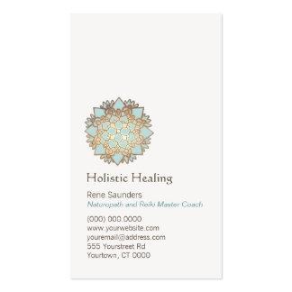 Or bleu santé holistique et naturelle de Lotus Carte De Visite Standard