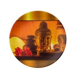 Or Bouddha Assiette En Porcelaine