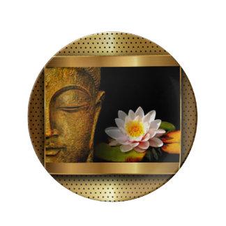 Or Bouddha avec la fleur de Lotus Assiettes En Porcelaine