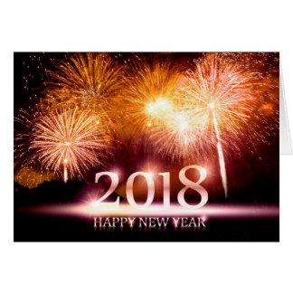 Or carte de 2018 feux d'artifice de bonne année