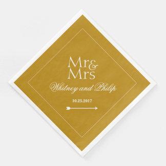 Or chic personnalisé de réception de mariage serviettes en papier