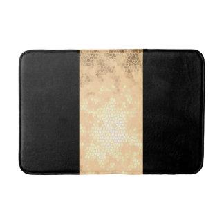 or clair élégant de faux et rayures noires tapis de bain