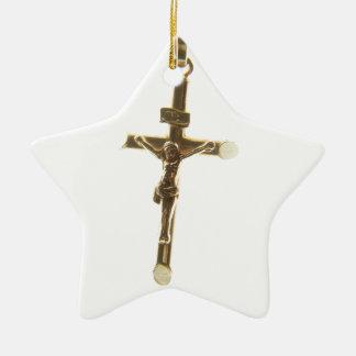 Or croisé de Jésus-Christ horizontal Ornement Étoile En Céramique