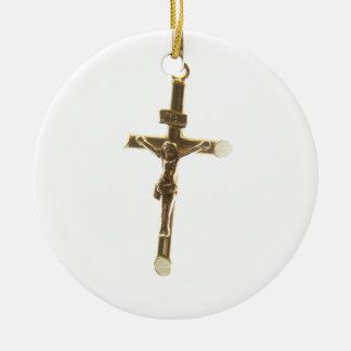 Or croisé de Jésus-Christ horizontal Ornement Rond En Céramique