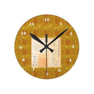 Or curatif de REIKI : Or de CRISTAL de signes de Horloge Ronde