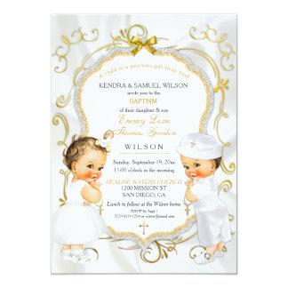 Or de baptême de baptême de jumeaux de bébé et de carton d'invitation  12,7 cm x 17,78 cm