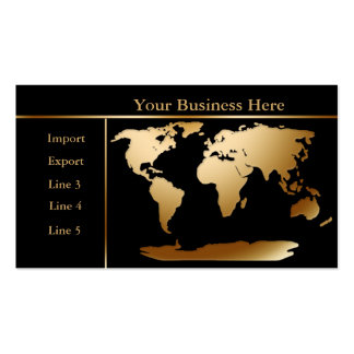 Or de carte du monde/carte de visite noir 4 carte de visite standard
