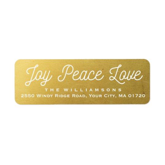 Or de coutume d'amour de paix de joie de Noël Étiquette D'adresse Retour
