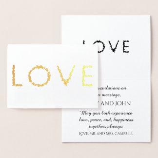 Or de félicitations de mariage d'amour carte dorée