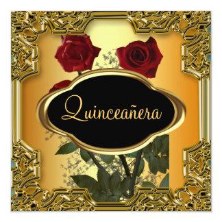 Or de fête d'anniversaire de Quinceanera Carton D'invitation 13,33 Cm