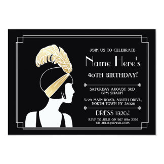 or de fille de Gatsby d'invitation d'anniversaire Carton D'invitation 12,7 Cm X 17,78 Cm