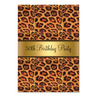 Or de fourrure de léopard de fête d'anniversaire carton d'invitation 8,89 cm x 12,70 cm
