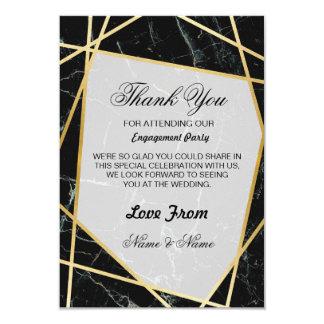 Or de marbre de noir de carte de remerciements de