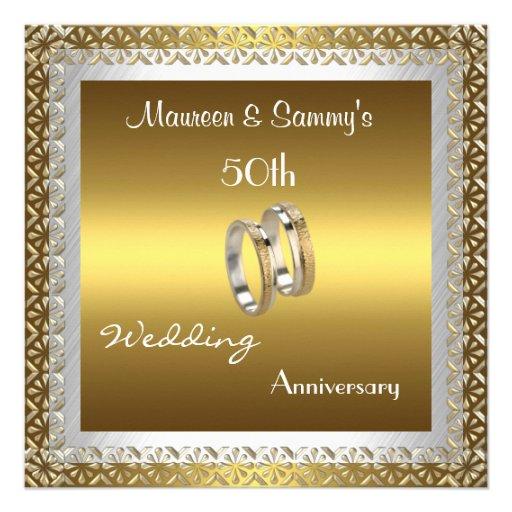 Or de mariage d'anniversaire d'invitation cinquant