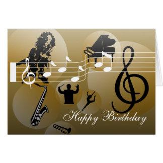 Or de musique d'amour de carte d'anniversaire