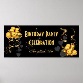 Or de noir de célébration de fête d'anniversaire d poster
