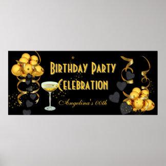 Or de noir de célébration de fête d'anniversaire d posters