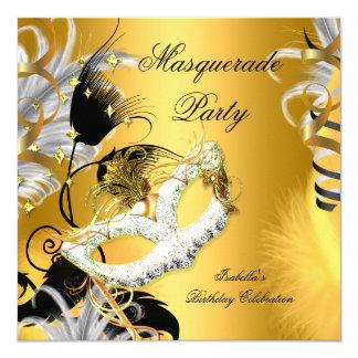 Or de noir de masque d'anniversaire de partie de carton d'invitation  13,33 cm