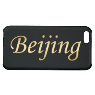 Or de Pékin - l'anglais - sur le noir Coque Pour iPhone 5C