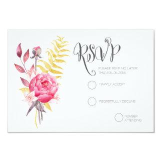 Or de pivoines d'aquarelle épousant des cartes de carton d'invitation 8,89 cm x 12,70 cm