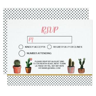 Or de point de polka de carte de mariage de cactus