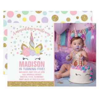 Or de rose d'invitation d'anniversaire de licorne carton d'invitation  12,7 cm x 17,78 cm