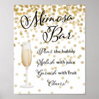 Or de signe de mariage de barre de mimosa poster