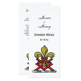 Or de très bon goût Crest Fleur de Lis Emblem Carton D'invitation 10,16 Cm X 23,49 Cm