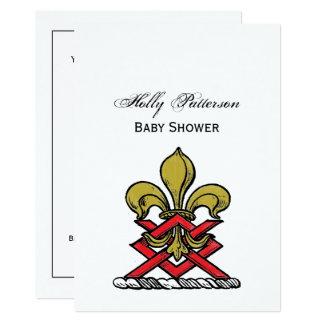 Or de très bon goût Crest Fleur de Lis Emblem Carton D'invitation 12,7 Cm X 17,78 Cm