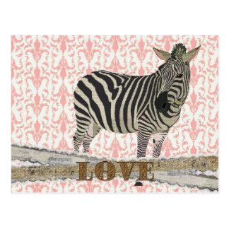 Or de Zeb et carte postale rose de damassé d'amour