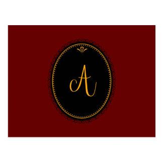 """Or du monogramme """"A"""" sur le noir Carte Postale"""