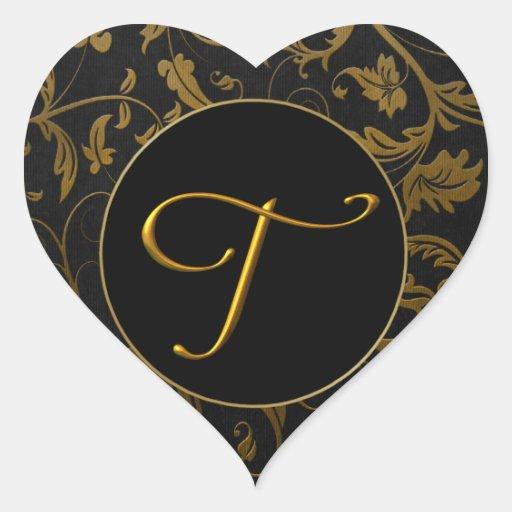Or du monogramme T et joint noir de mariage Autocollants En Cœur