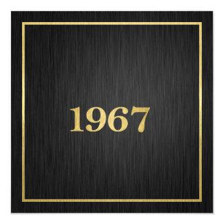 Or élégant 1967 carton d'invitation  13,33 cm