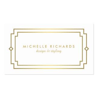 Or élégant d'art déco vintage professionnel, blanc carte de visite standard