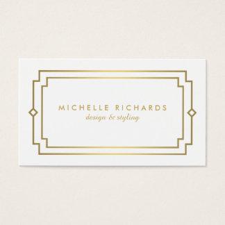 Or élégant d'art déco vintage professionnel, blanc cartes de visite