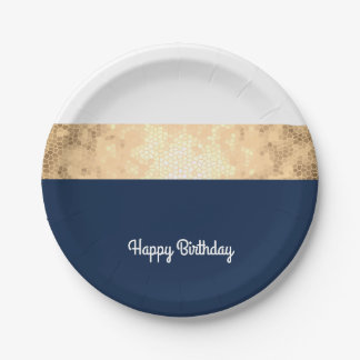 or élégant de faux, bleu marine, rayures blanches assiettes en papier